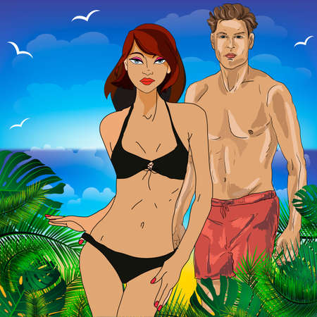 Boy and girl on the beach together. Vector illustration of a holiday in hot countries Векторная Иллюстрация
