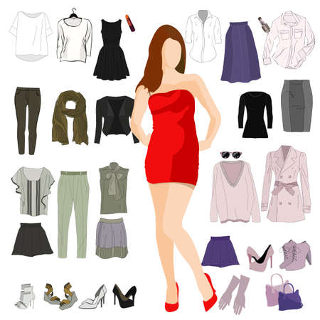 Set of vector womans clothing.