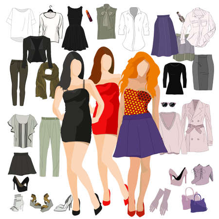 Womans wardrobe elements for combination. Set of vector womans clothing. Capsule wardrobe.