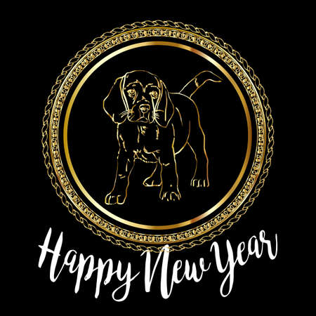 chinese knot: Chinese New Year 2018 festive vector card Design with cute dog, zodiac symbol of 2018 year Translation of text on stamp : wishes of good luck
