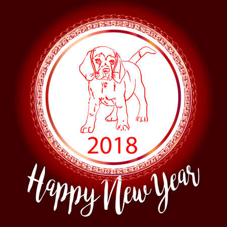 Chinese New Year 2018 festive vector card Design with cute dog, Illustration