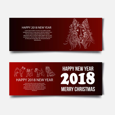 dog: Chinese New Year 2018 festive vector card Design with cute dog, zodiac symbol of 2018 year Translation of text on stamp : wishes of good luck