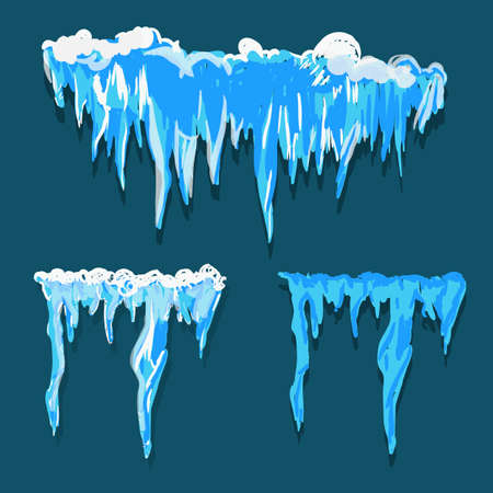 icicle: Vector icicle and snow elements clipart. Different snow cap