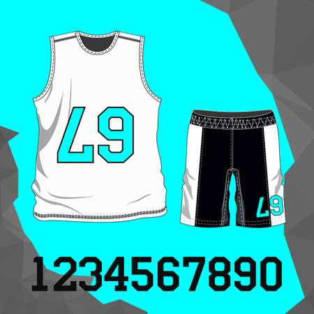Football uniform: t-shirt, shorts with numbers. Vector illustration
