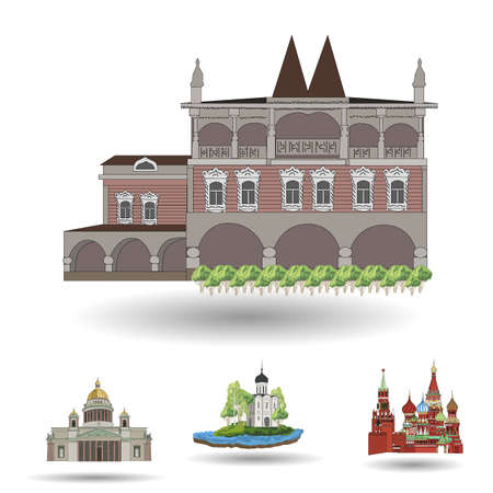Church buildings isolated in white background, vector illustration.
