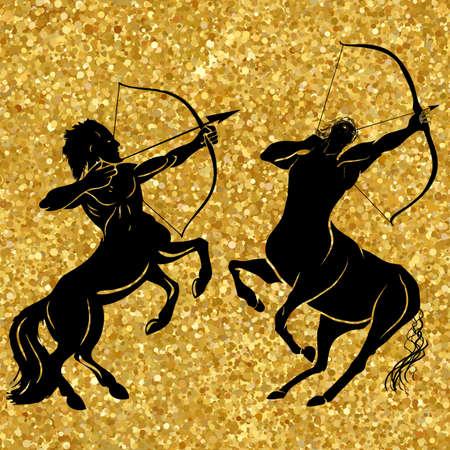 Centaur concepto de mítico centaur arquero caballo hombre carácter con un arco y flecha