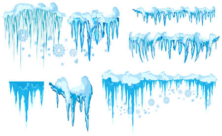 Vector icicle and snow elements clipart. Different snow cap vector