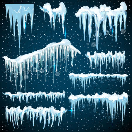 Set of realistic borders with snow and icicles.