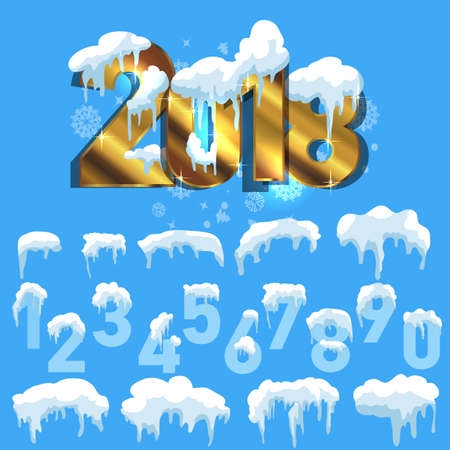 ice: Text 2018. Snow ice icicle set Winter design. White blue snow template. Snowy frame decoration isolated on blue background. Cartoon style. Christmas, New Year frozen ice texture Illustration