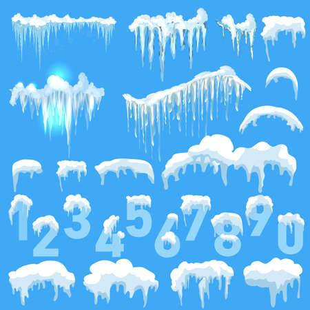 Set of Isolated snow cap. Snowy elements on winter background. Vector template in cartoon style for your design. Snowfall and snowflakes in motion Vettoriali