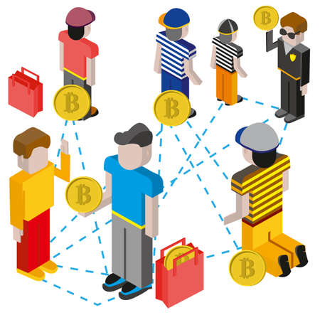 Bitcoin mining concept with pickaxe, young people character, coin and mountain graph. Vector cartoon flat illustration.