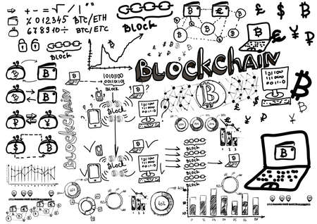 quantity: Financial diagram. Graphic of growing course of Bitcoin. Business doodle sketch set. Blackboard background. It include graphs, bitcoin, devices, concept, diagrams, business plan, strategy.