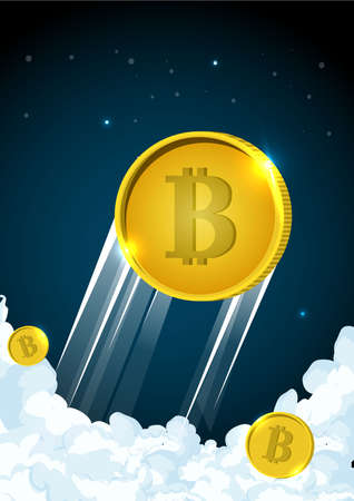 Illustration of rocket flying over clouds with bitcoin icon. Illustration
