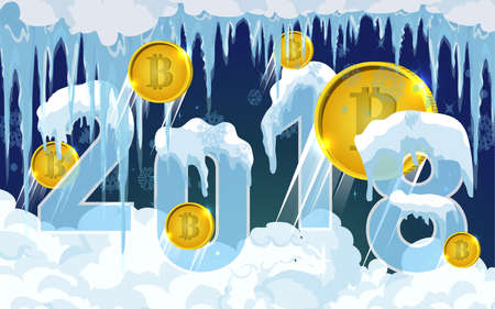 ice: 2018 New year snow cap. Snowy elements on winter background.Vector template in cartoon style for your design. Bitcoin mining concept, vector.