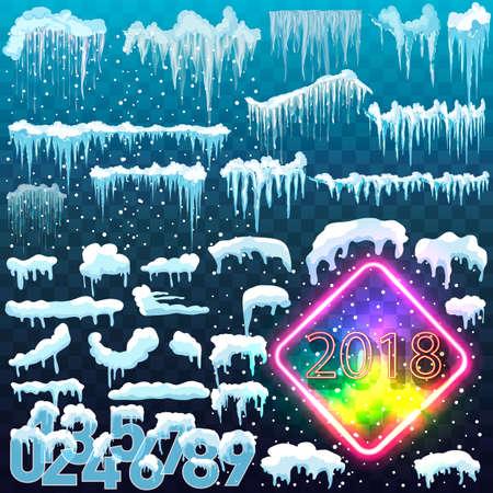 孤立した雪のキャップのセットです。冬の背景に雪に覆われた要素。ベクトル漫画のスタイルはあなたの設計のためのテンプレート。 写真素材 - 84001130