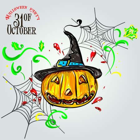 Set pumpkins for Halloween. Vector Illustration of Halloween Design Elements