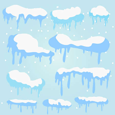 Set of Isolated snow cap. Snowy elements on winter background. Vector template in naturalistic style for your design. Snowfall Flat design Illustration