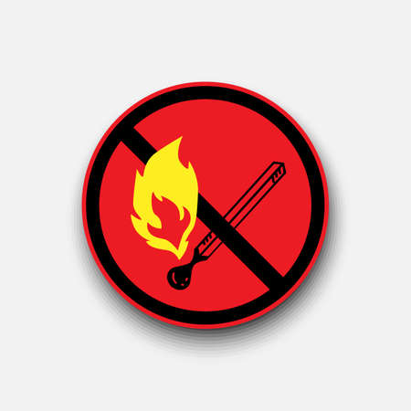 No open flame sign. No fire, No access with open flame prohibition sign. Red, black and white vector illustration. Illustration