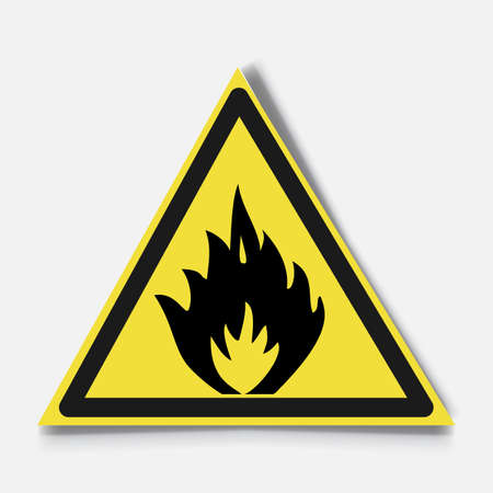 Fire warning sign on white.