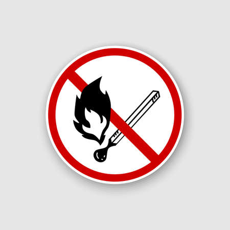 No open flame sign. No fire, No access with open flame prohibition sign. Red, black and white vector illustration. Ilustração