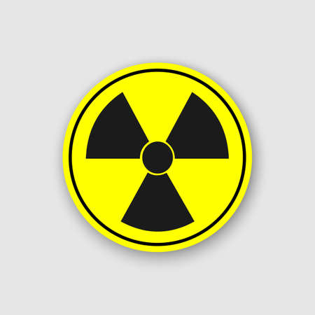 Radioactive sign, symbol in circle. Stylized, with transparent drop-shadow.