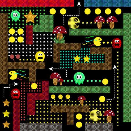 Modern Hydro Monster Labyrinth Video Game User Interface Arcade game icon. Retro game design. Vector illustration. Illustration