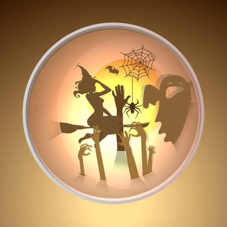 Happy halloween greeting card.paper art style.