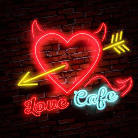 Love cafe banner. Illustration