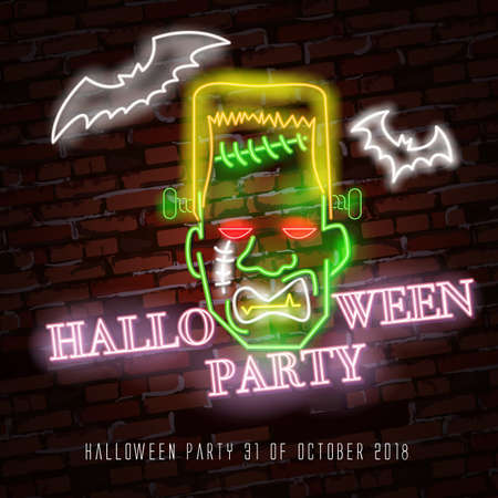 Zombie neon sign. Happy Halloween. Neon sign, bright signboard, light banner. Halloween party. Bats and zombie monster neon Ilustração