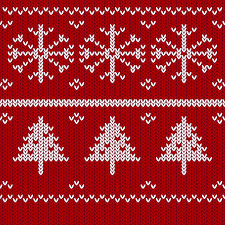 Christmas knitting background with christmas tree. Vector