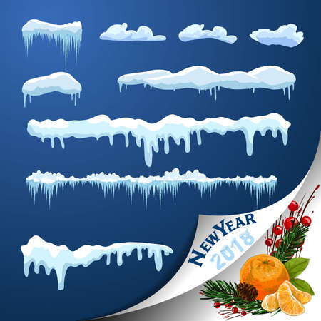 Set of snow icicles isolated on transparent background Vector illustration.