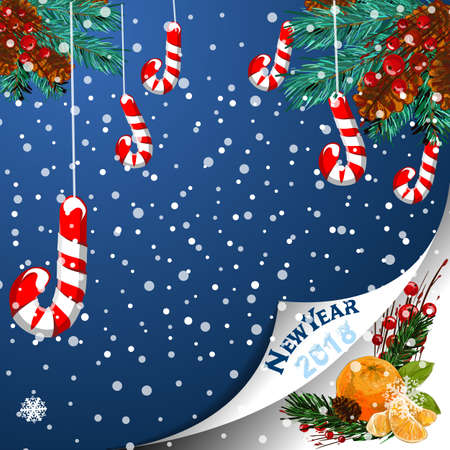 Christmas background with snowflakes and candy Illustration