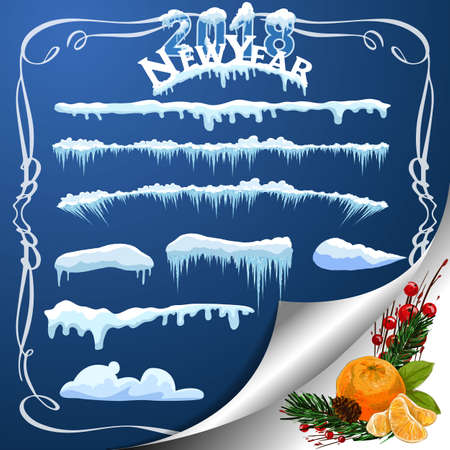 Set of snow icicles isolated on transparent background Vector illustration Illustration