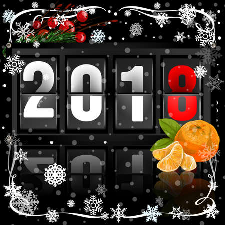 An analog scoreboard flip calendar for new year 2018 on dark background. Illustration