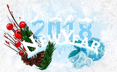 2018 neues Jahr auf gefrorenem Hintergrund des Eises. Ein editierbarer Farbverlauf wird zum einfachen Einfärben verwendet. Standard-Bild - 88450880
