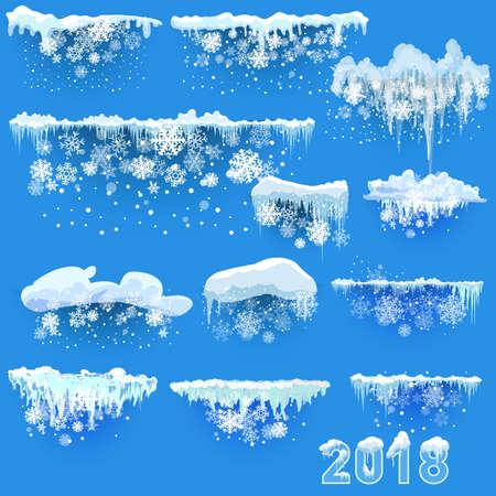 透明な背景ベクトル図に分離された雪つららのセットです。  イラスト・ベクター素材
