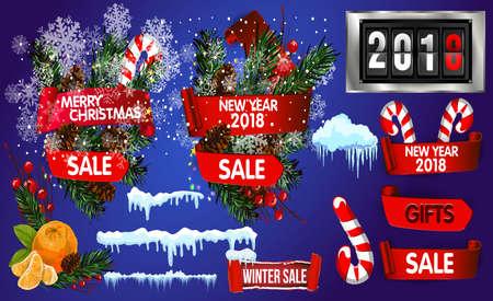 Big set elements for Christmas design, vector illustration