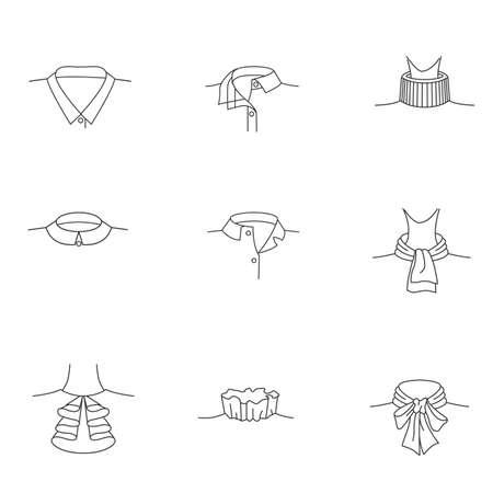 シンプルな設定の影響関連ベクトル線アイコン女性の襟。シャツの襟。女性のブラウスの襟。首輪。現代ベクトル絵文字コレクション。