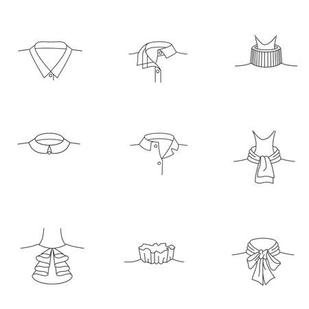 Simple Set of Influence Related Vector Line Icons of womens collars. collar for shirt. collars for womens blouses. collar. Modern vector pictogram collection.