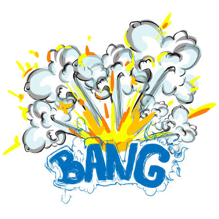 Cartoon vector bomb explosion with smoke. Cartoon style. Effect boom, explode flash, bomb comic. Blast with fire and cloud. Illustration of burst isolated on white background. Comic book explosion elements for your design