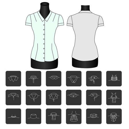 Fashion sketch of shirt collars.types of womens collars. collar for shirt. collars for womens blouses. collar. Modern vector pictogram collection.