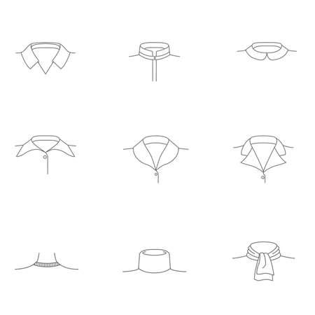 Conjunto simples de influência relacionados Vector linha ícones de colares de mulheres. colarinho para camisa. coleiras para blusas femininas. colarinho. Coleção de pictograma moderno vetor. Foto de archivo - 89973721