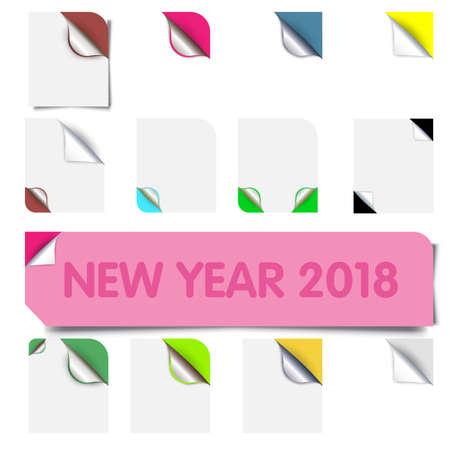 Reeks realistische vector kleurrijke document hoeken die op witte achtergrond wordt geïsoleerd. Curl-papierhoek voor flyer, brochure, website. Stock Illustratie