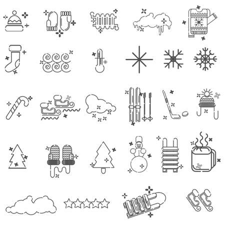 Simple Set of Christmas Related Vector Line Icons. winter minimal thin line icons set, vector illustration design elements vector