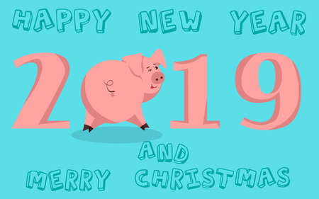 Cute funny pig. Happy New Year. Chinese symbol of the 2019 year. Excellent festive gift card.