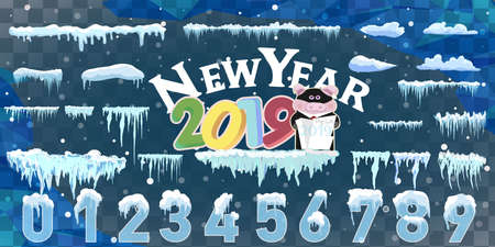 Isolated snow caps set on menu bar and buttons. New year decoration kit for website. Snowflakes and icicles