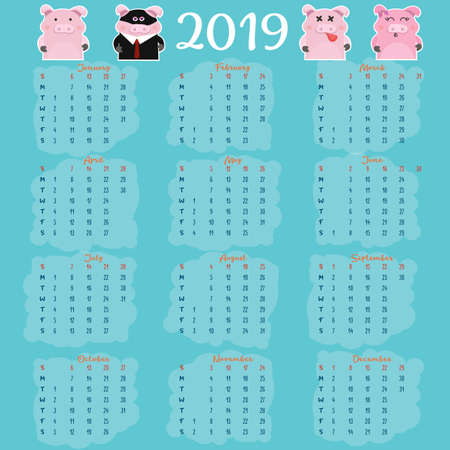 Monthly creative calendar 2019 with cute pig. Concept, vector vertical editable template. Symbol of the year in the Chinese calendar. Cartoon. Isolated.