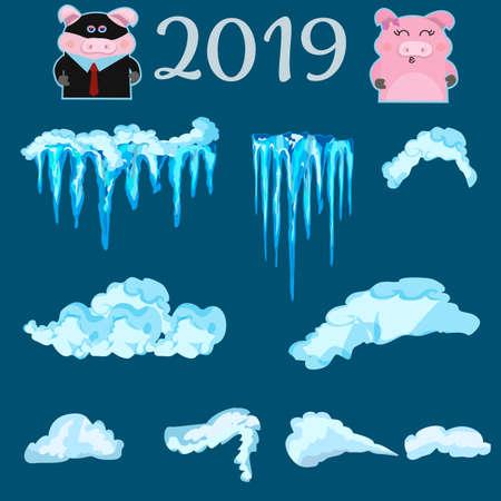 Ensemble de casquettes de neige, boules de neige et congères. Collection de vecteur de chapeau de neige. Élément de décoration d'hiver. Éléments enneigés sur fond bleu. Vecteurs