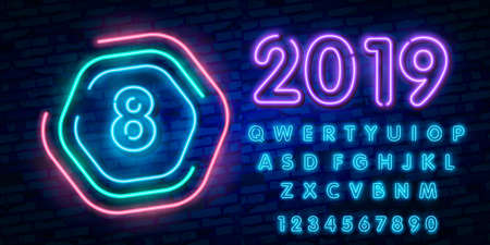 Number eight symbol neon sign vector. Eighth, Number eight template neon icon, light banner, neon signboard, nightly bright advertising, light inscription. Ilustração