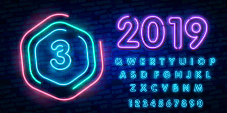 Number three symbol neon sign vector. Third, Number three template neon icon, light banner, neon signboard, nightly bright advertising, light inscription.